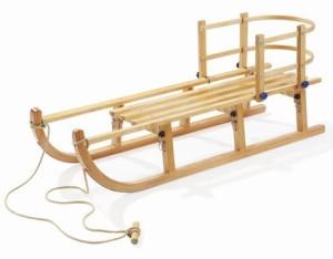 Klappschlitten kaufen - Der klappbare Holzschlitten mit Rückenlehne von Howa